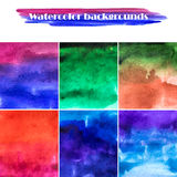 Set of six watercolor backgrounds. Abstract vector. Hand drawing Stock Photo