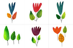 Set of six watercolor draw flowers Stock Photo