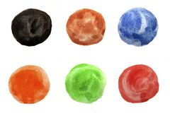 Set of six watercolor painted circles. Royalty Free Stock Photos