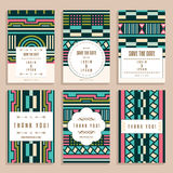 Set Of Six Wedding Cards With Art Deco Ornaments Royalty Free Stock Photos