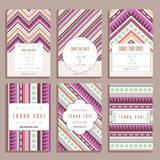 Set Of Six Wedding Cards With Geometric Ornaments Stock Image