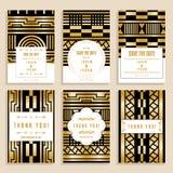 Set Of Six Wedding Cards With Golden Art Nouveau Ornaments Stock Photo