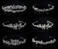 Set of six 6 wedding diadems Royalty Free Stock Images