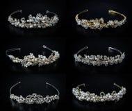 Set of six 6 wedding diadems Royalty Free Stock Photos