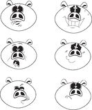 Set of six white and black color cute cartoon emotional pig vector illustration