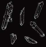 Set of six white crystals Stock Image