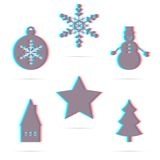 Set of six winter holiday anagliph flat icon. Star, Christmas ball, snowflake, house, snowman, christmas tree. Modern 3D design Stock Images