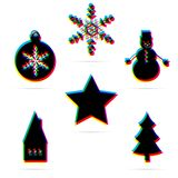 Set of six winter holiday flat icon with shadow. Stock Photos