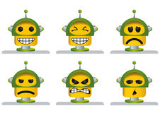 Set of six yellow and green robot faces, laughing, sad, angry and tired Royalty Free Stock Images