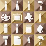 Set of sixteen art icons Royalty Free Stock Image