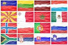 Set sixteen big different national flags. Royalty Free Stock Photos