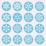Set of Sixteen Blue Shades Snowflake Ornaments Christmas Design Elements Stock Photos
