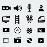 Set of sixteen cinema video icons . Vector illustration. Set of sixteen cinema video icons . Film tape, video folder. Vector design Royalty Free Stock Photos