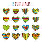 Set of sixteen decorative hearts with different bright colorful patterns on a white background Stock Photos