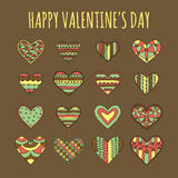 Set of sixteen decorative hearts with different colorful desaturated patterns on a brown background vector illustration