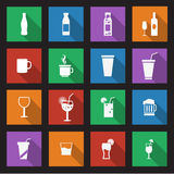 Set of sixteen drink icons Royalty Free Stock Image