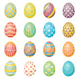 Set of sixteen eggs. Easter collection. Set of sixteen eggs decorated with ornament. Easter vector collection royalty free illustration