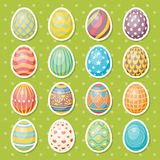 Set of sixteen eggs. Easter collection. Set of sixteen eggs decorated with ornament. Easter vector collection stock illustration