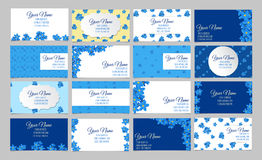 Set of sixteen floral business cards Royalty Free Stock Images