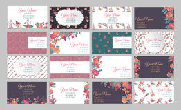 Set of sixteen floral business cards Royalty Free Stock Photo