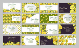 Set of sixteen floral business cards Royalty Free Stock Photos