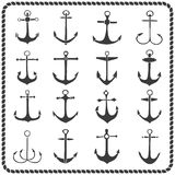 Set of sixteen hand drawn anchors Royalty Free Stock Image