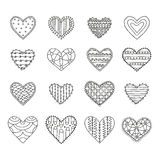 Set of sixteen hand drawn decorative hearts with different patterns on a white background vector illustration