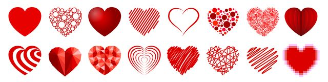 Set of sixteen hearts - vector royalty free illustration