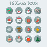 Set of sixteen icons of Christmas Stock Photo
