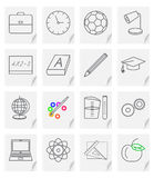 Set of sixteen  images - icons for a school site with a picture of objects on a sheet of paper with a curved corner Stock Photos