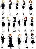 Set of sixteen mannequins in black cocktail dresse. Set of sixteen mannequins silhouettes of beautiful girls in detailed black cocktail dresses with stylish royalty free illustration