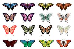 Set of sixteen multicolored butterflies royalty free illustration