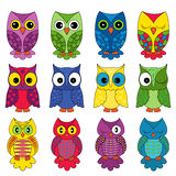 Set of sixteen owls Stock Image