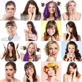 Set of sixteen people's photos Stock Images