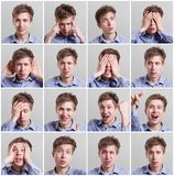 Set of sixteen pictures of young man with different gestures and emotions Royalty Free Stock Image