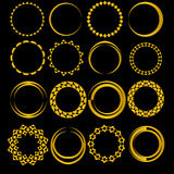 Set of sixteen round frames. Gold color. Royalty Free Stock Photography