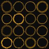 Set of sixteen round frames. Manual sketch. Stock Photo