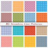 Set of sixteen seamless linear patterns with thin lines. Set of 16 Seamless linear patterns with thin lines. Stylish colorful geometric backgrounds collection royalty free illustration