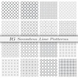 Set of sixteen seamless linear patterns with thin lines. Set of 16 Seamless linear patterns with thin lines. Stylish monochrome geometric backgrounds collection Royalty Free Stock Photos