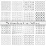 Set of sixteen seamless linear patterns with thin lines. Set of 16 Seamless linear patterns with thin lines. Stylish monochrome geometric backgrounds collection Royalty Free Stock Images
