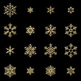 Set of sixteen shine relief golden snowflakes isolated on black background. New Year and Christmas card glittering stock illustration