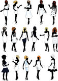 Set of sixteen silhouettes in white cocktail dress. Set of sixteen silhouettes of beautiful girls in detailed hairdo and white cocktail dresses royalty free illustration