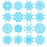 Set of sixteen snowflakes Stock Photos