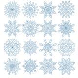 Set of sixteen snowflakes Stock Photos