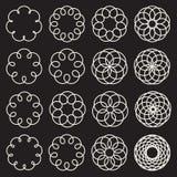 Set of Sixteen Spirograph Line Circles Decorative Design Elements Royalty Free Stock Image