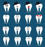 Set of sixteen tooth icons Stock Photography