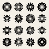 Set of Sixteen Vector Black  White Flower Petal Star Shape Design Elements Royalty Free Stock Image