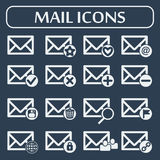 Set of sixteen vector mail icons for web. Applications, email icons design. Vector illustration. Grey background Royalty Free Stock Images