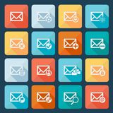 Set of sixteen vector mail icons for web. Applications, email icons design. Vector illustration. Long shadow Royalty Free Stock Image