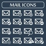 Set of sixteen vector mail icons for web. Mail icons for web applications. Vector illustration. Social networking and communication Royalty Free Stock Photography